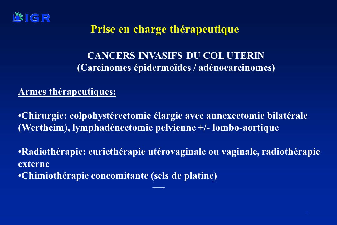 CANCERS INVASIFS DU COL UTERIN