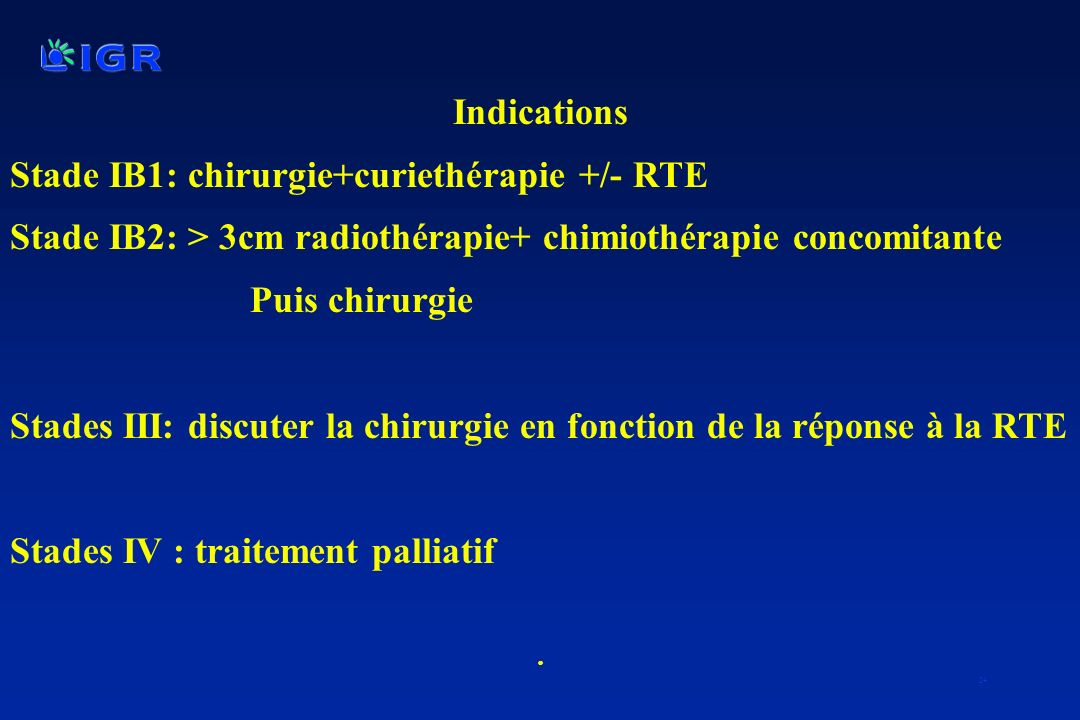 Stade IB1: chirurgie+curiethérapie +/- RTE