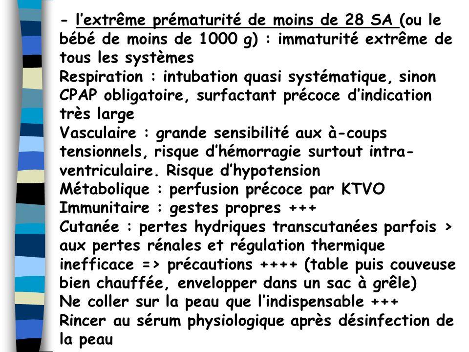 - l'extrême prématurité de moins de 28 SA (ou le bébé de moins de 1000 g) : immaturité extrême de tous les systèmes