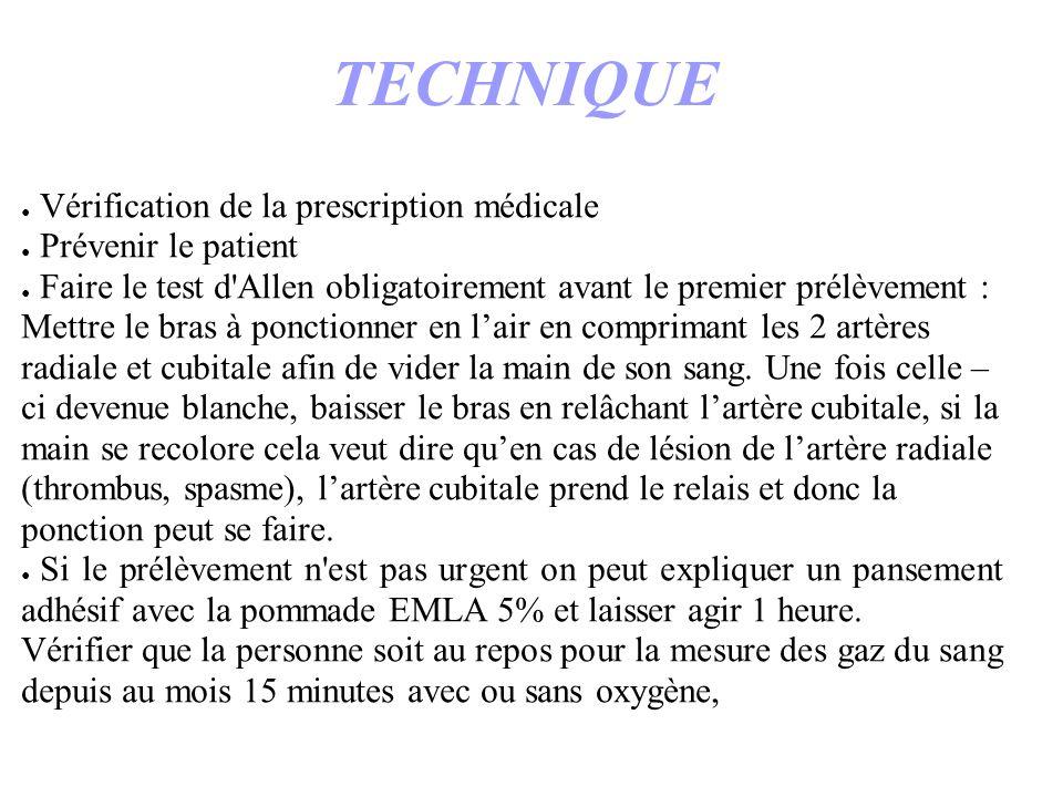 TECHNIQUE Vérification de la prescription médicale Prévenir le patient