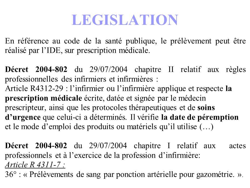 LEGISLATION En référence au code de la santé publique, le prélèvement peut être réalisé par l'IDE, sur prescription médicale.