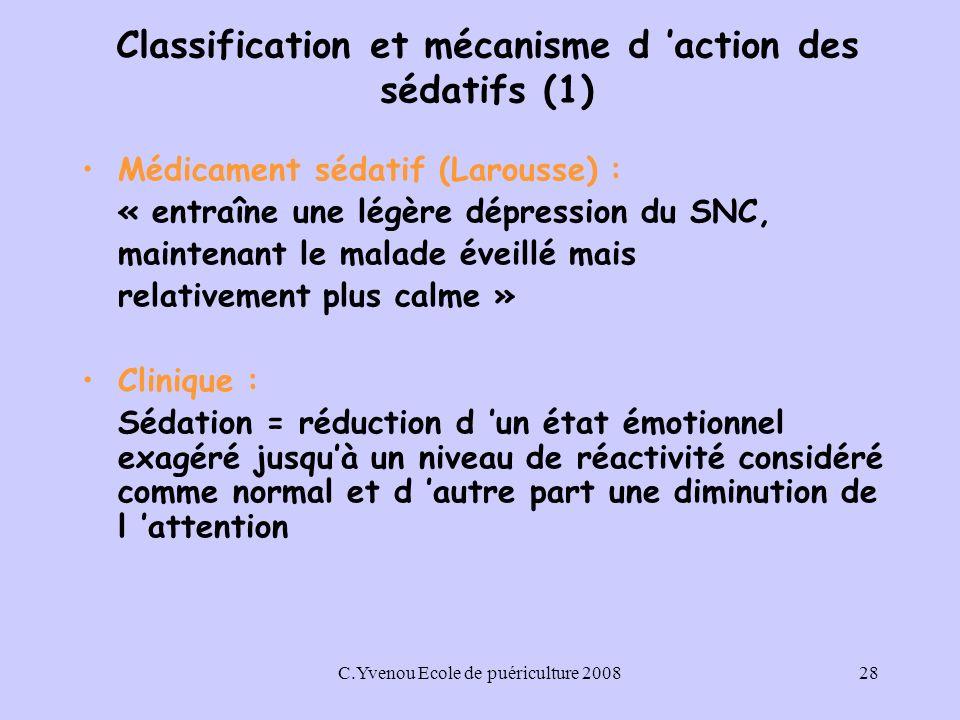 Classification et mécanisme d 'action des sédatifs (1)