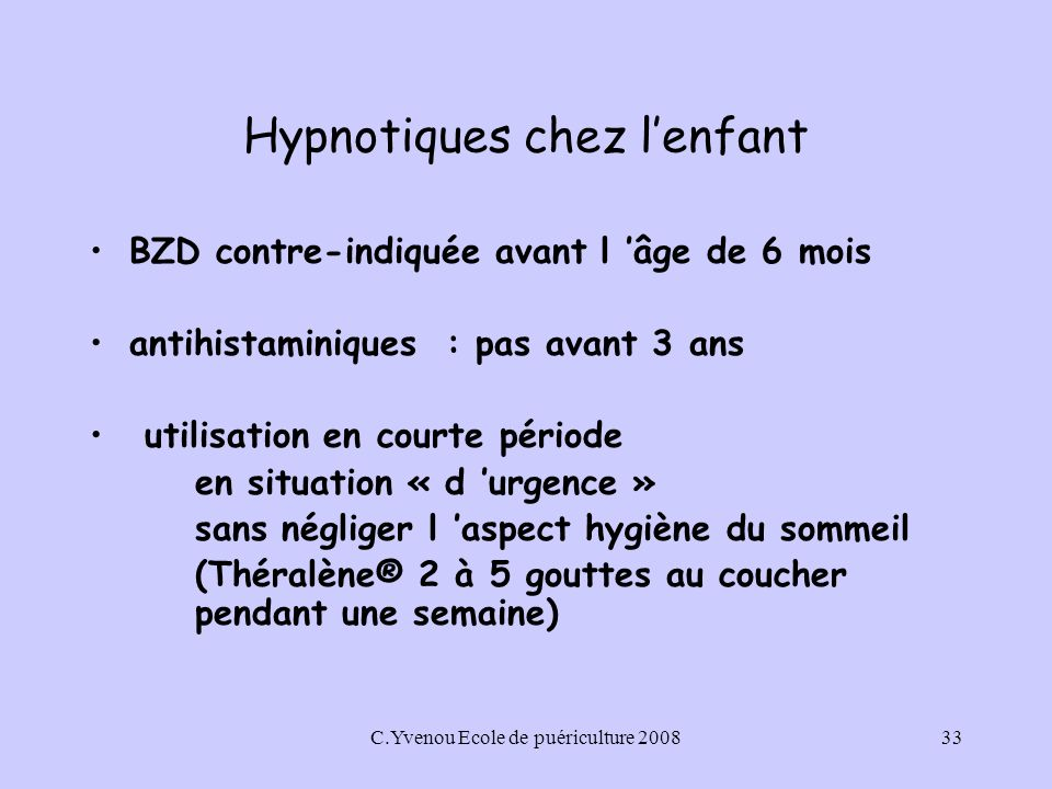 Hypnotiques chez l'enfant