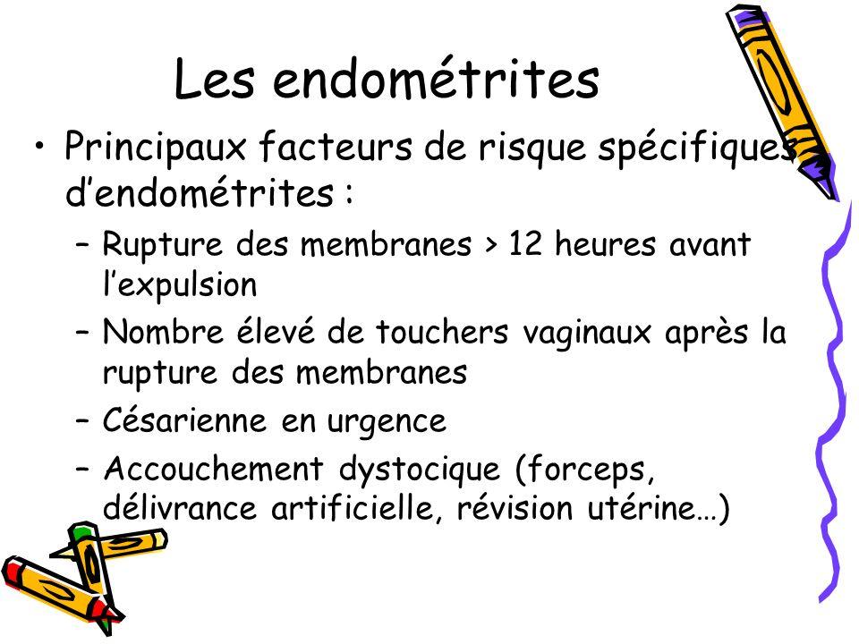 Les endométrites Principaux facteurs de risque spécifiques d'endométrites : Rupture des membranes > 12 heures avant l'expulsion.