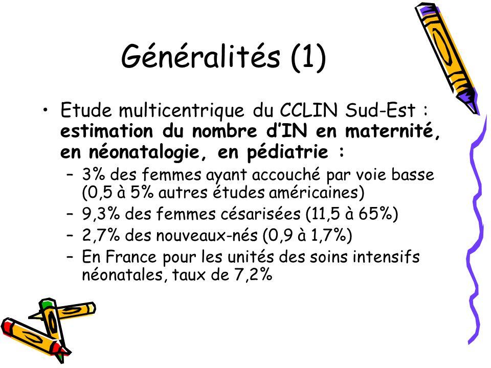 Généralités (1) Etude multicentrique du CCLIN Sud-Est : estimation du nombre d'IN en maternité, en néonatalogie, en pédiatrie :