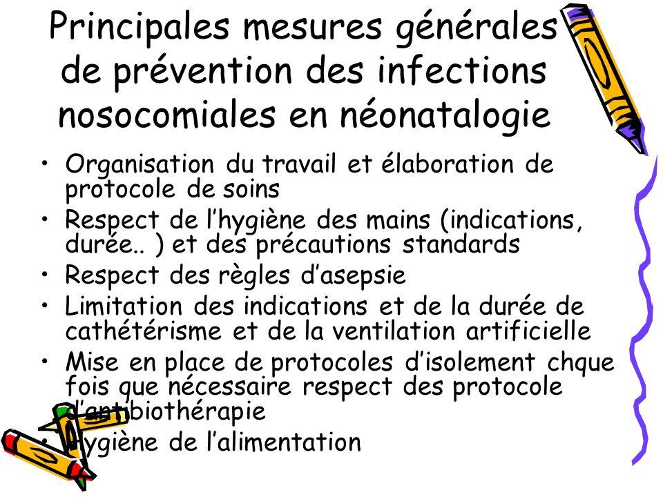 Principales mesures générales de prévention des infections nosocomiales en néonatalogie