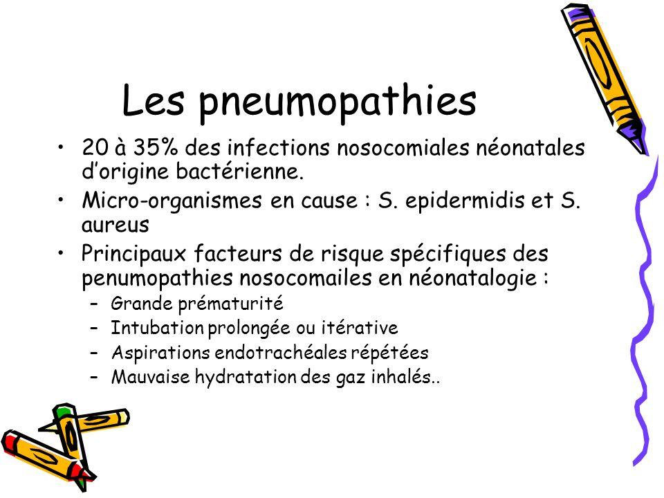 Les pneumopathies 20 à 35% des infections nosocomiales néonatales d'origine bactérienne. Micro-organismes en cause : S. epidermidis et S. aureus.