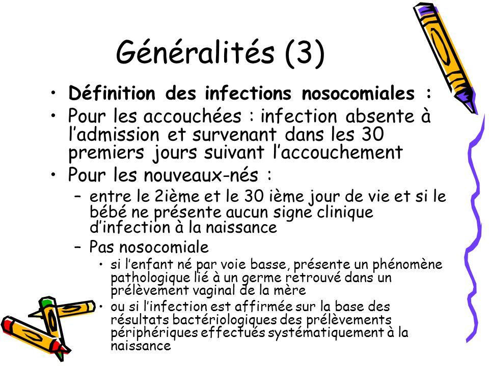 Généralités (3) Définition des infections nosocomiales :