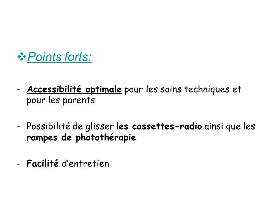 Points forts: Accessibilité optimale pour les soins techniques et pour les parents.