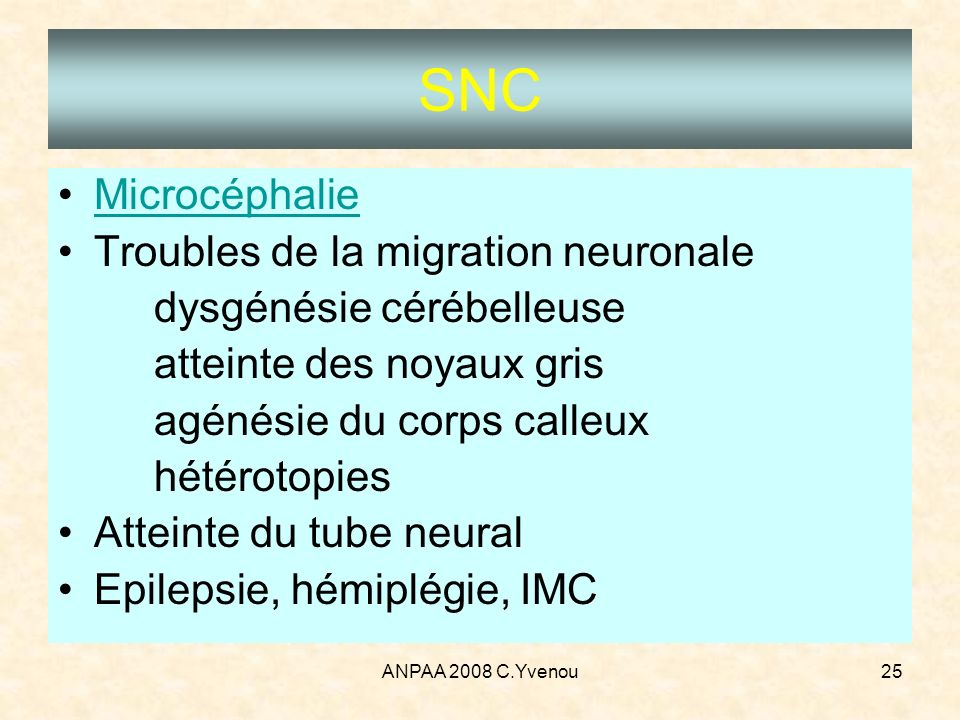 SNC Microcéphalie Troubles de la migration neuronale