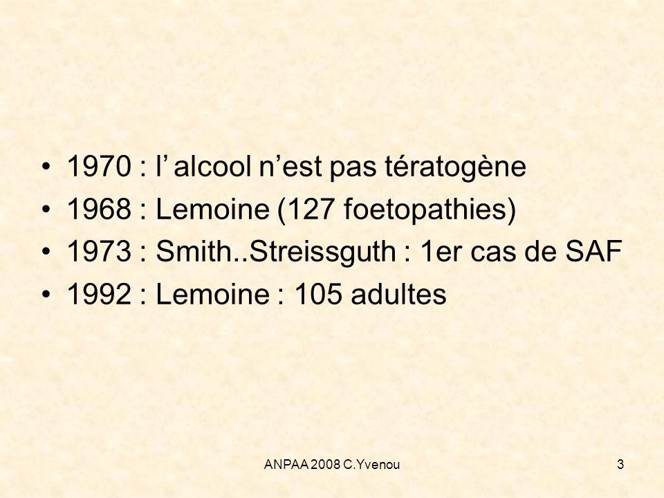 1970 : l' alcool n'est pas tératogène
