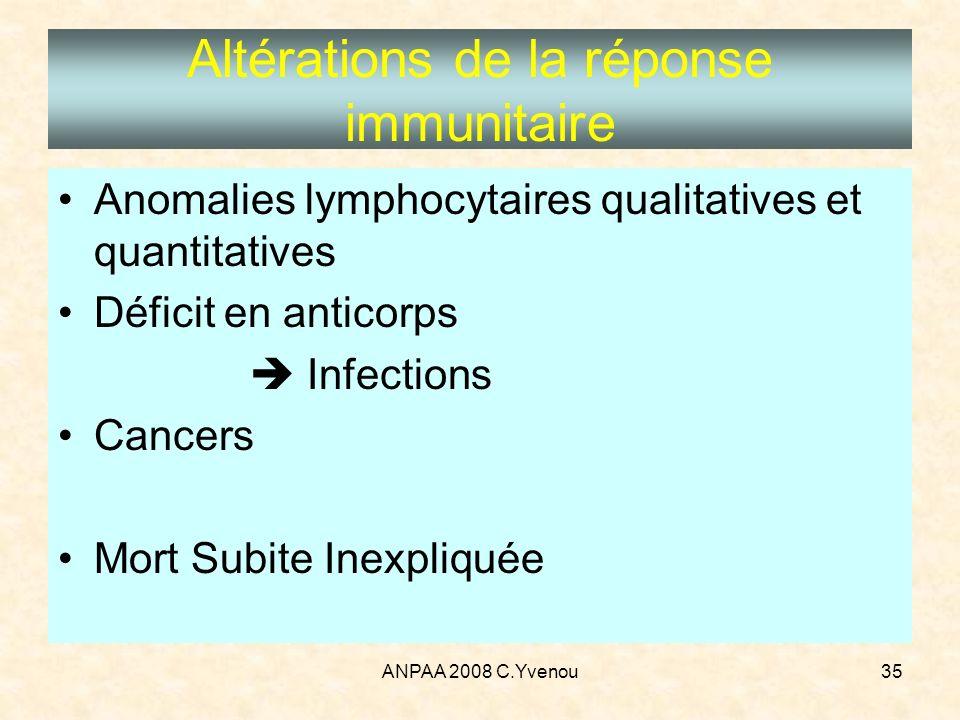 Altérations de la réponse immunitaire
