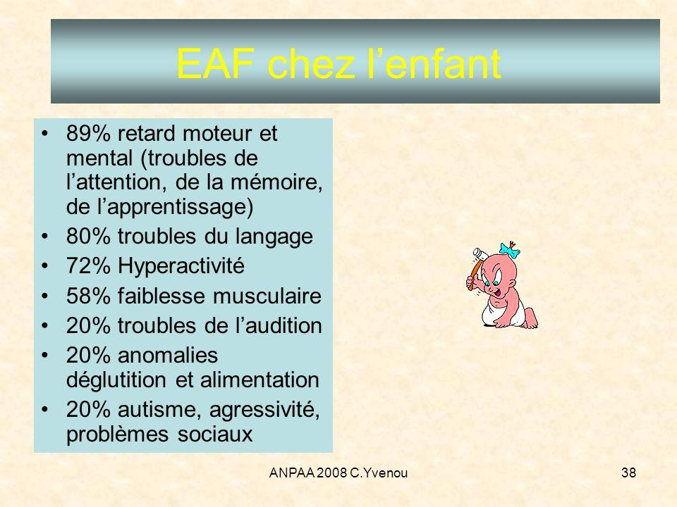 EAF chez l'enfant 89% retard moteur et mental (troubles de l'attention, de la mémoire, de l'apprentissage)