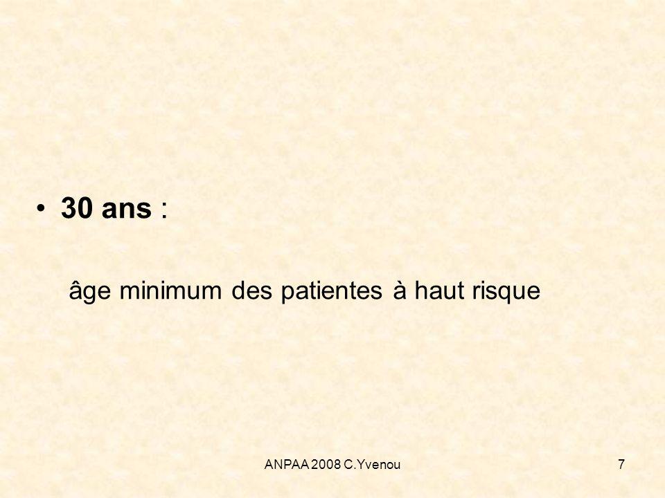 30 ans : âge minimum des patientes à haut risque ANPAA 2008 C.Yvenou