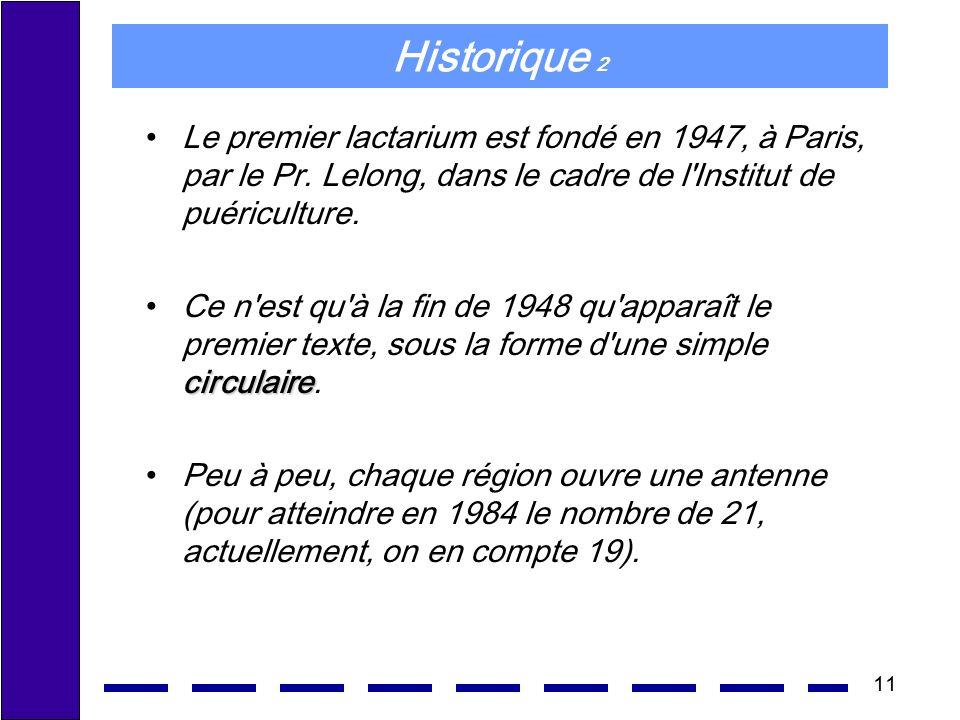 Historique 2 Le premier lactarium est fondé en 1947, à Paris, par le Pr. Lelong, dans le cadre de l Institut de puériculture.