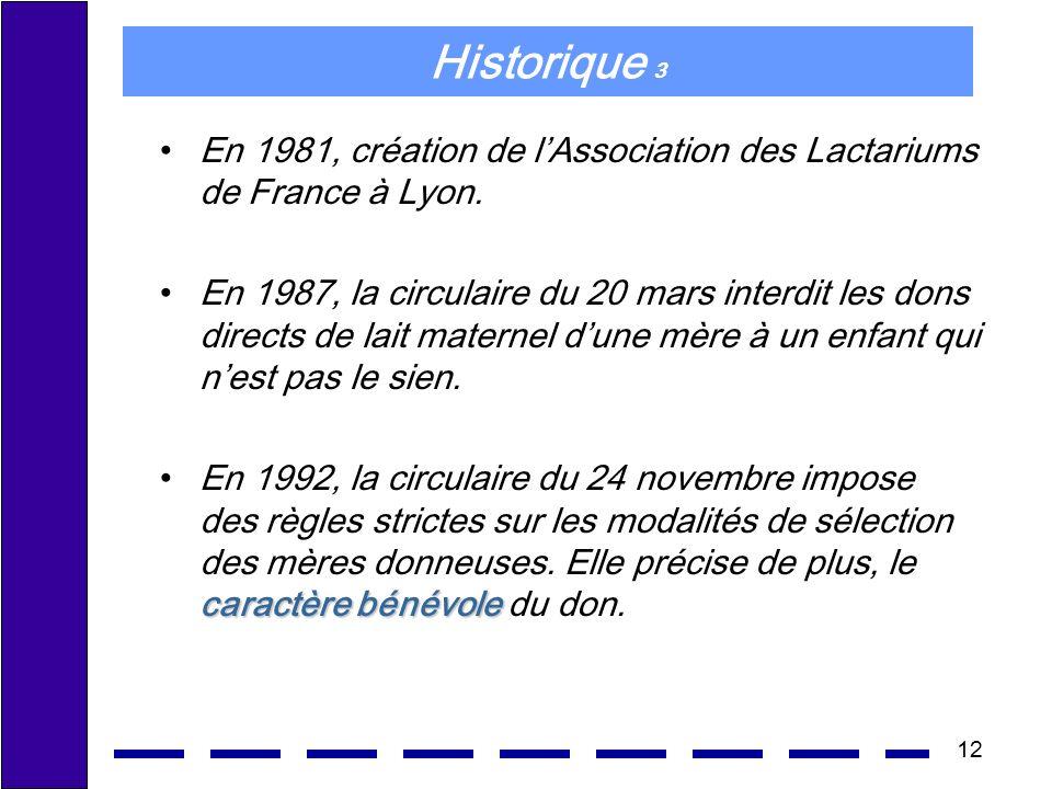 Historique 3 En 1981, création de l'Association des Lactariums de France à Lyon.