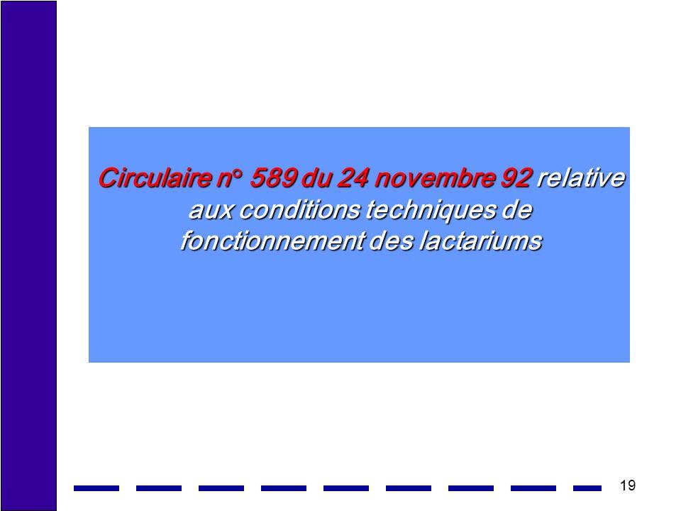 Circulaire n° 589 du 24 novembre 92 relative aux conditions techniques de fonctionnement des lactariums