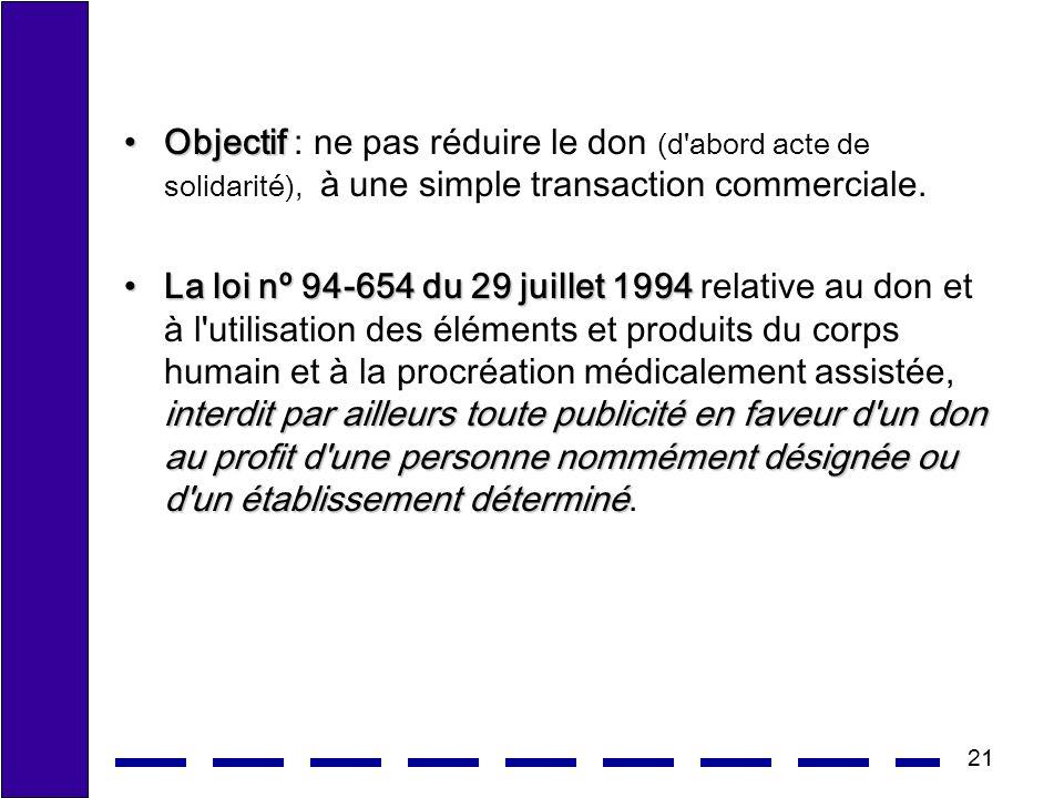 Objectif : ne pas réduire le don (d abord acte de solidarité), à une simple transaction commerciale.