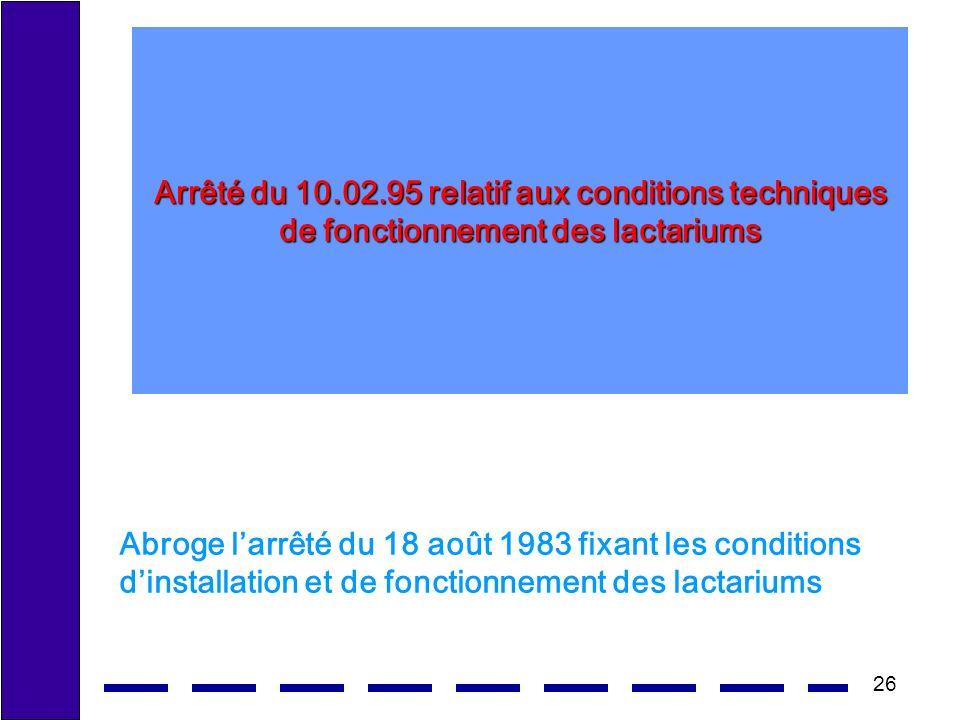 Arrêté du 10.02.95 relatif aux conditions techniques de fonctionnement des lactariums