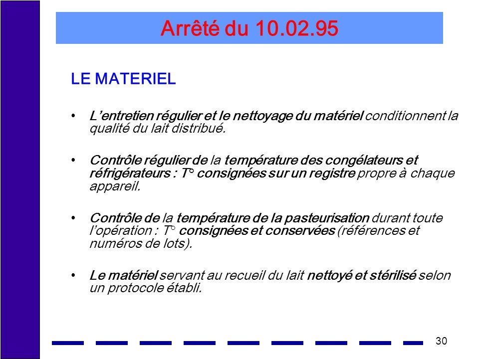 Arrêté du 10.02.95 LE MATERIEL. L'entretien régulier et le nettoyage du matériel conditionnent la qualité du lait distribué.