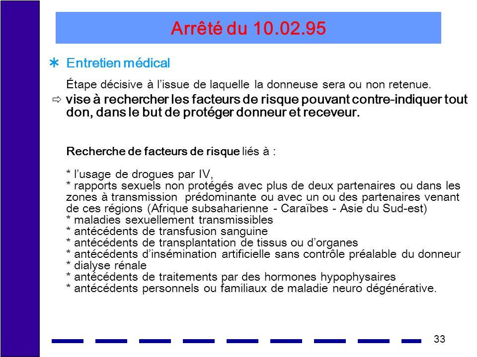 Arrêté du 10.02.95 Entretien médical Étape décisive à l'issue de laquelle la donneuse sera ou non retenue.