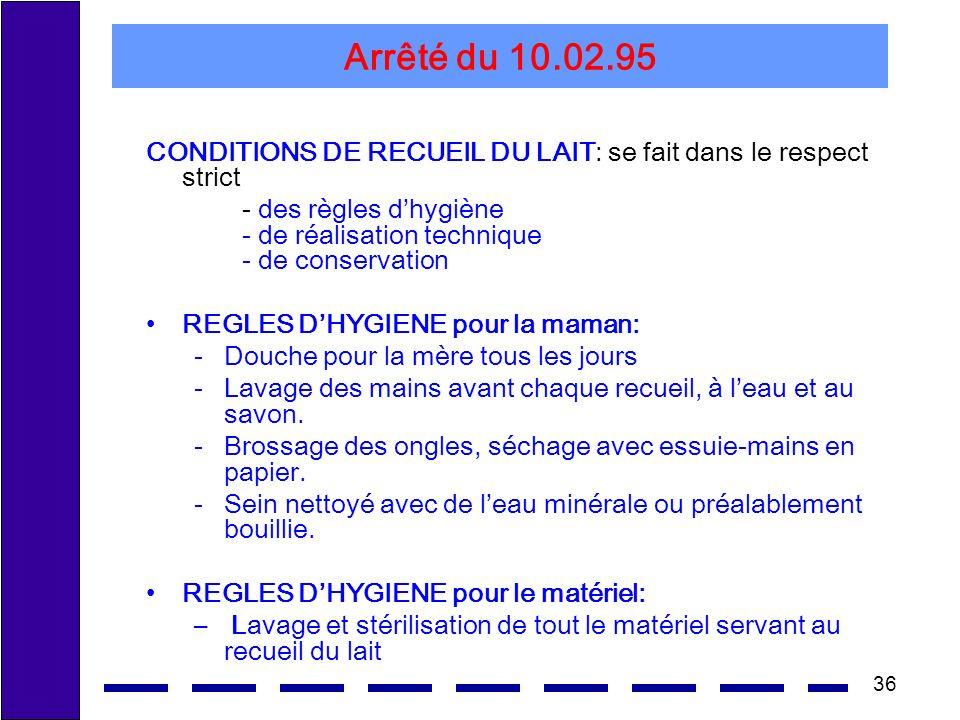 Arrêté du 10.02.95 CONDITIONS DE RECUEIL DU LAIT: se fait dans le respect strict.