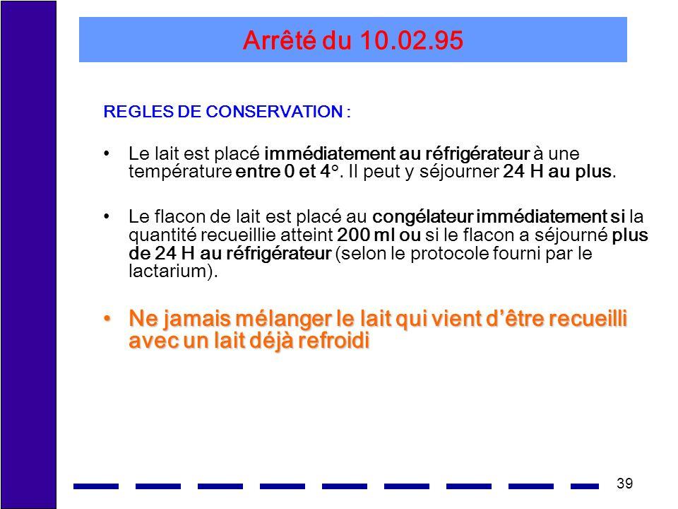 Arrêté du 10.02.95 REGLES DE CONSERVATION :