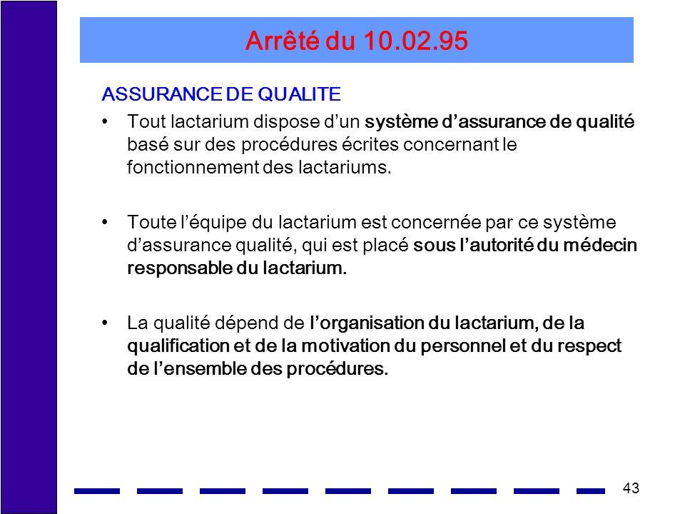 Arrêté du 10.02.95 ASSURANCE DE QUALITE