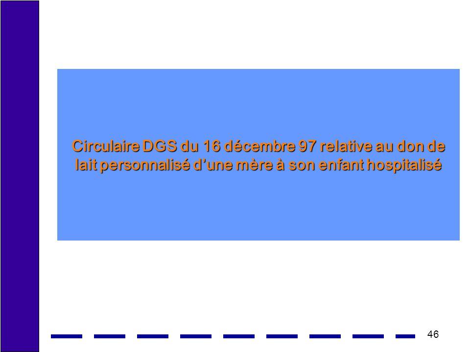 Circulaire DGS du 16 décembre 97 relative au don de lait personnalisé d'une mère à son enfant hospitalisé