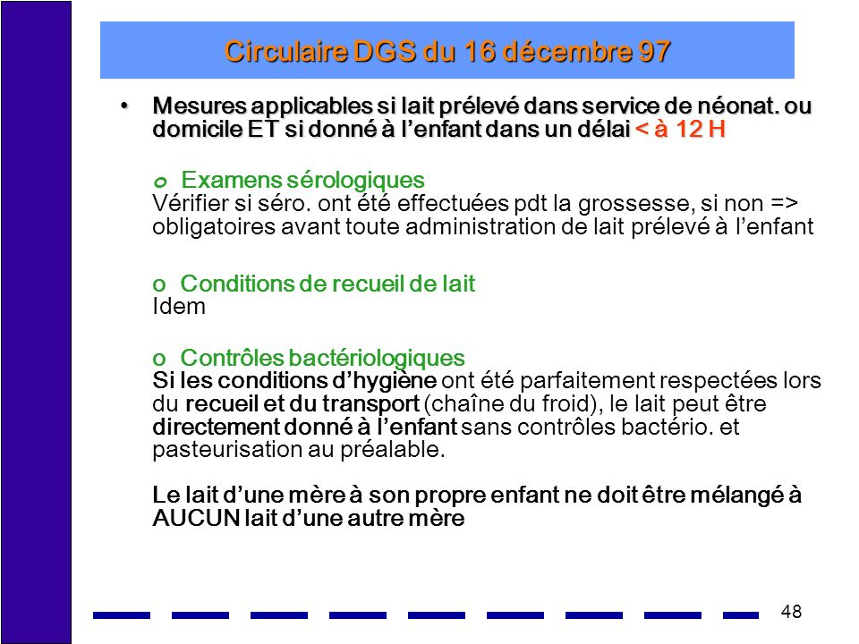Circulaire DGS du 16 décembre 97