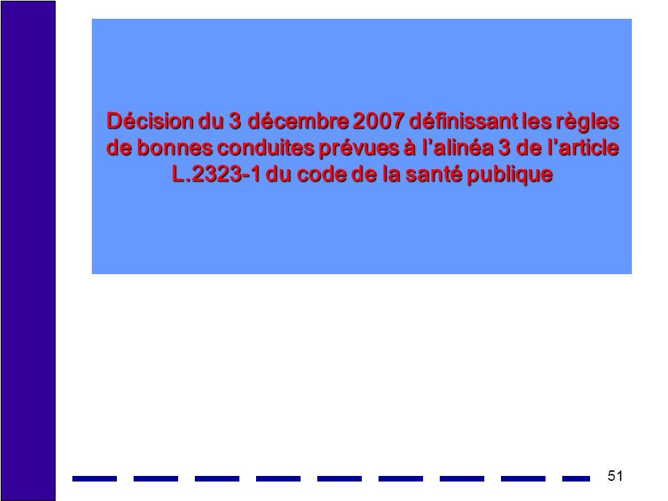 Décision du 3 décembre 2007 définissant les règles de bonnes conduites prévues à l'alinéa 3 de l'article L.2323-1 du code de la santé publique