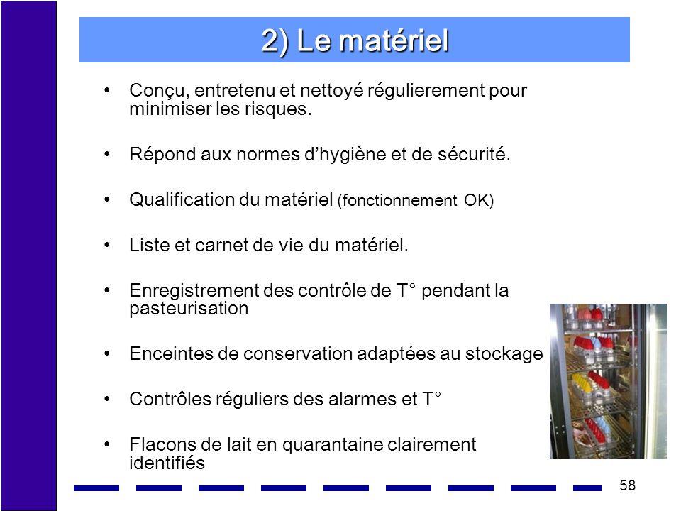 2) Le matériel Conçu, entretenu et nettoyé régulierement pour minimiser les risques. Répond aux normes d'hygiène et de sécurité.