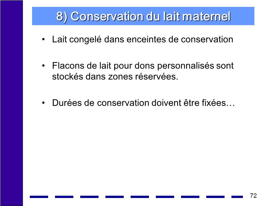 8) Conservation du lait maternel