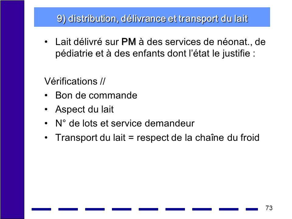9) distribution, délivrance et transport du lait