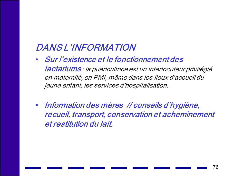 DANS L'INFORMATION
