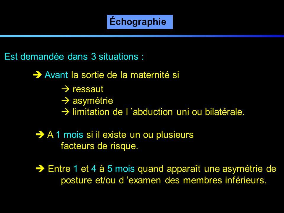 Échographie Est demandée dans 3 situations :  Avant la sortie de la maternité si.  ressaut.  asymétrie.