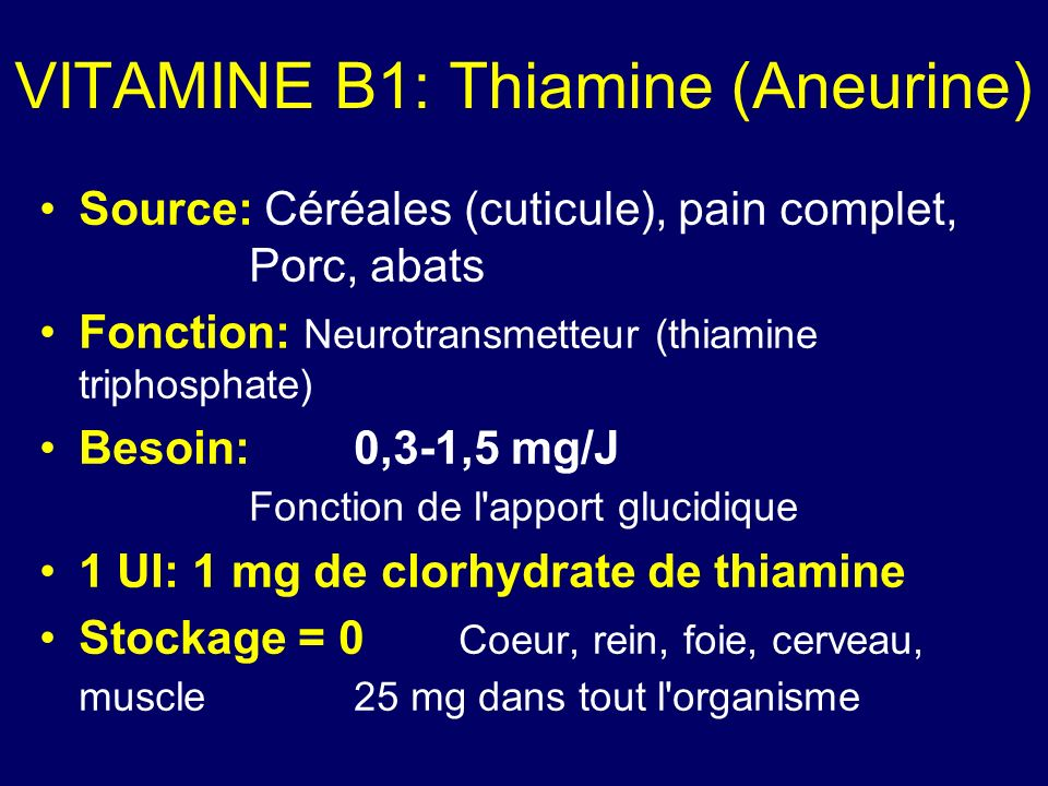 VITAMINE B1: Thiamine (Aneurine)