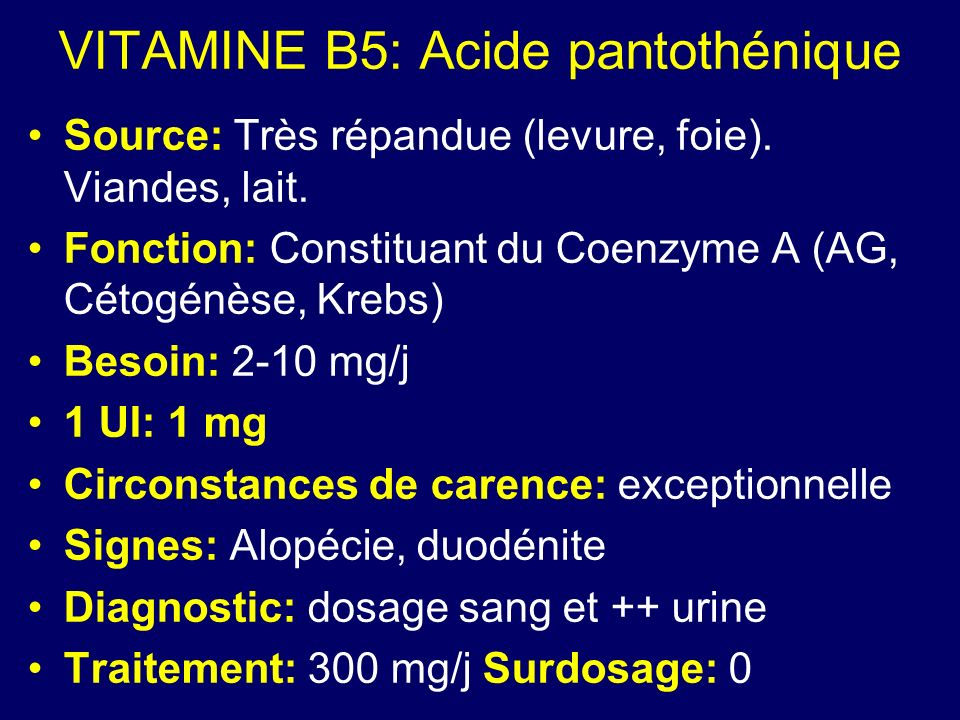 VITAMINE B5: Acide pantothénique