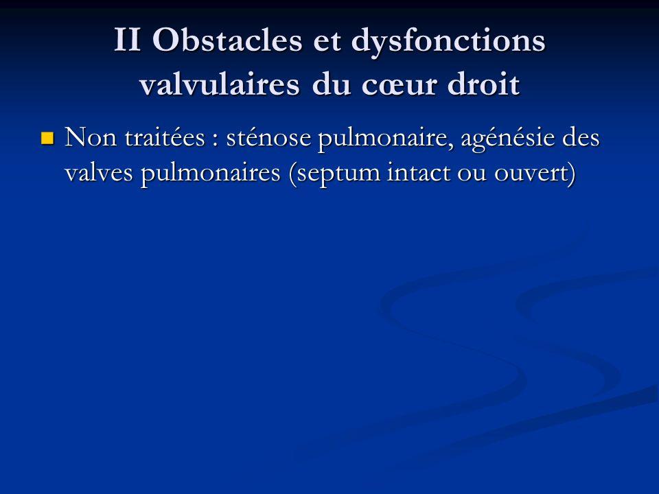 II Obstacles et dysfonctions valvulaires du cœur droit