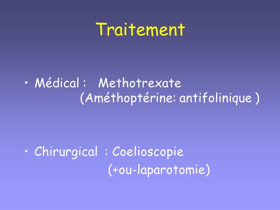 Traitement Médical : Methotrexate (Améthoptérine: antifolinique )