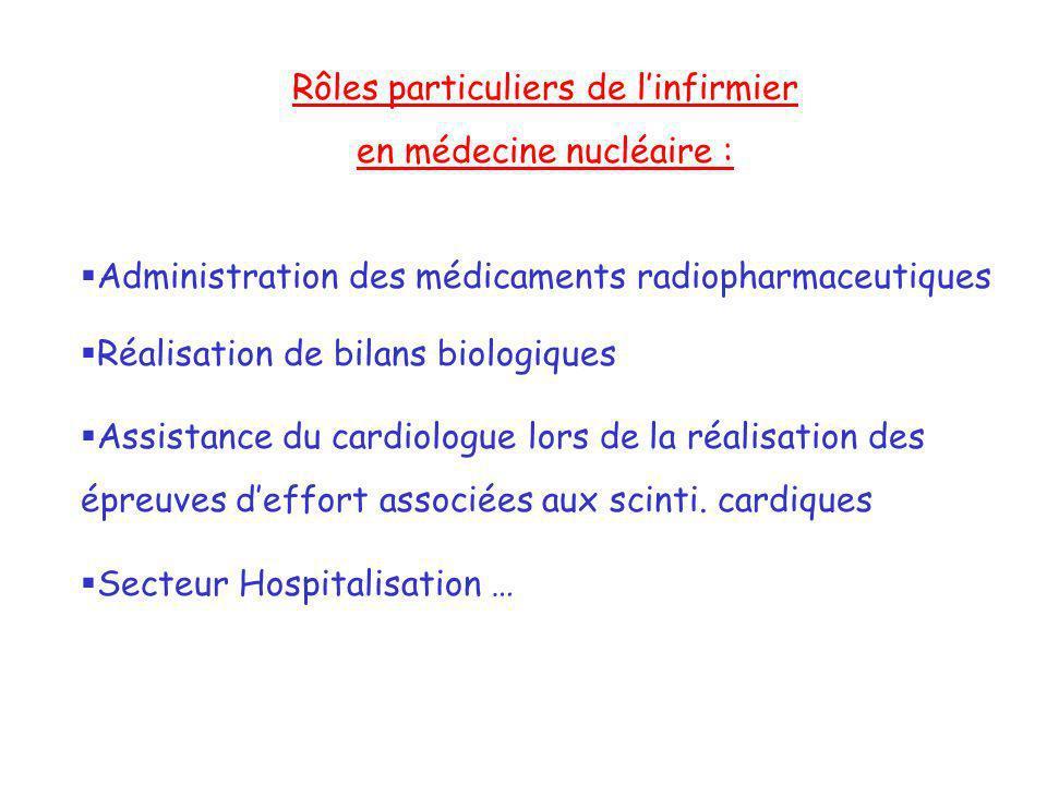 Rôles particuliers de l'infirmier en médecine nucléaire :