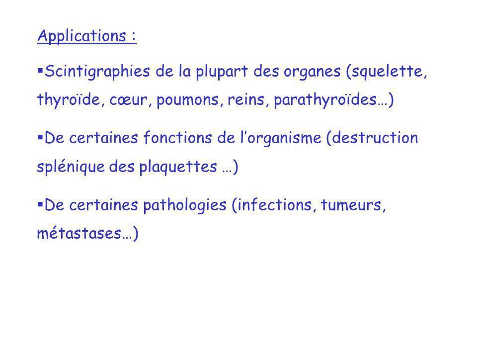 Applications :Scintigraphies de la plupart des organes (squelette, thyroïde, cœur, poumons, reins, parathyroïdes…)