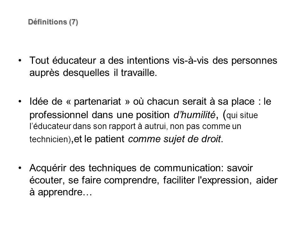 Définitions (7) Tout éducateur a des intentions vis-à-vis des personnes auprès desquelles il travaille.