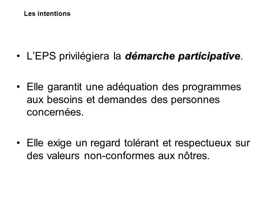 L'EPS privilégiera la démarche participative.