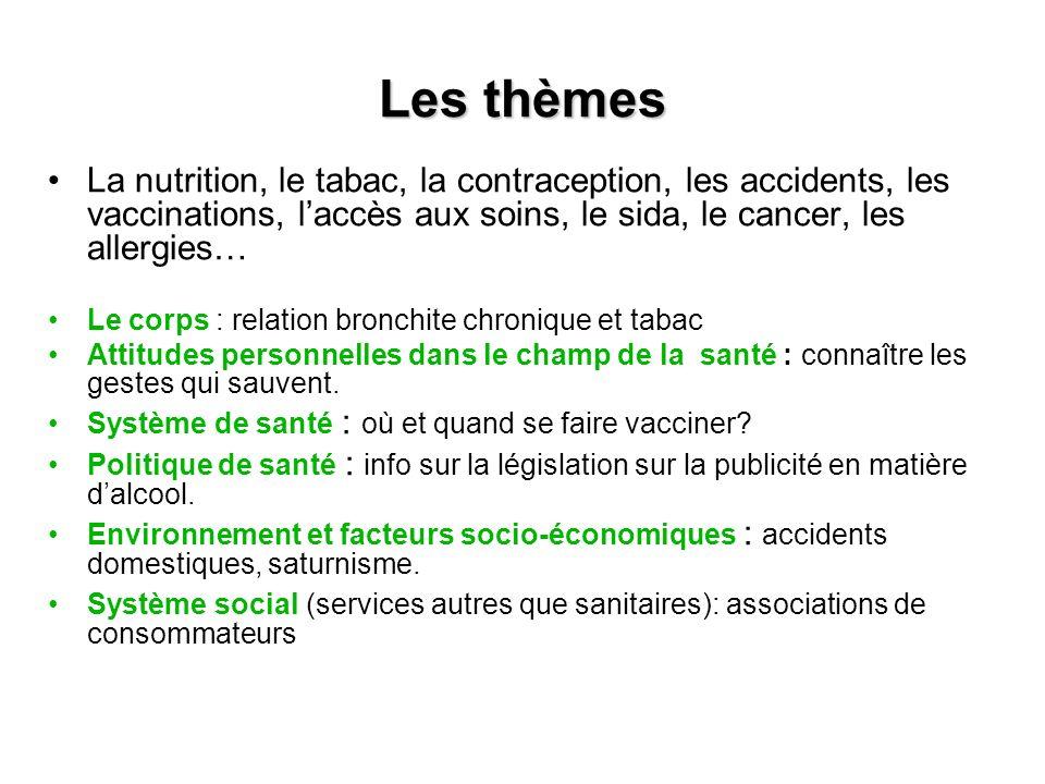 Les thèmes La nutrition, le tabac, la contraception, les accidents, les vaccinations, l'accès aux soins, le sida, le cancer, les allergies…