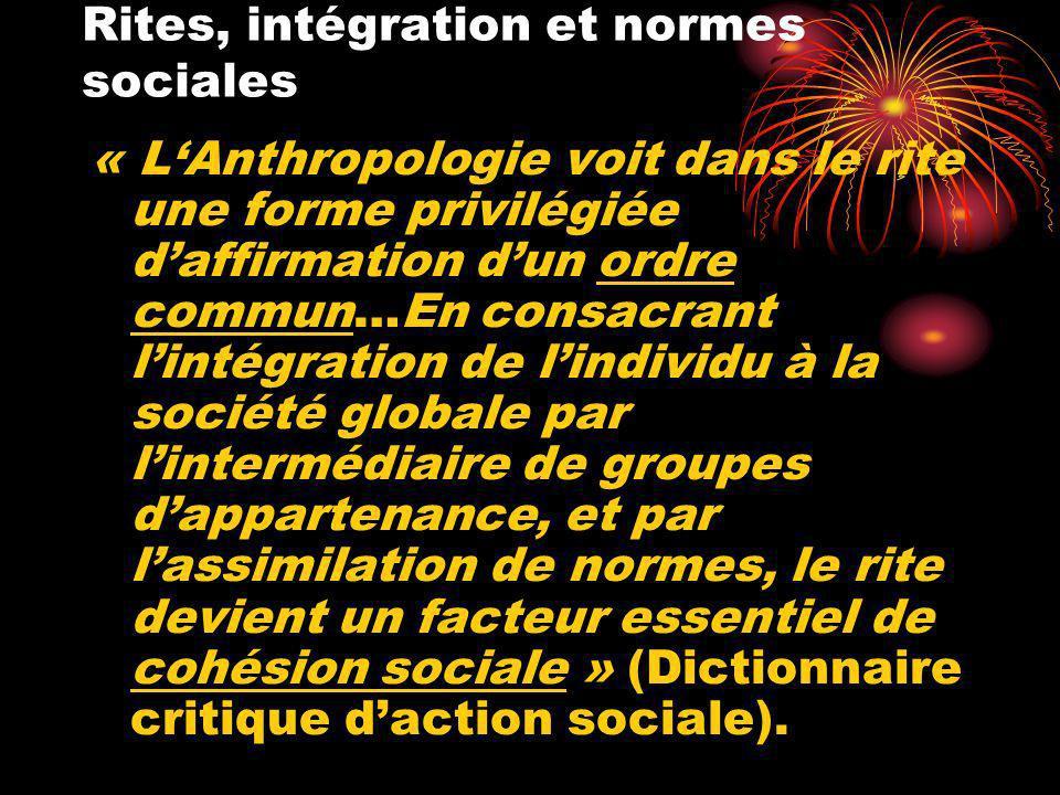 Rites, intégration et normes sociales