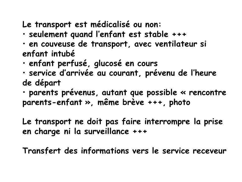Le transport est médicalisé ou non: