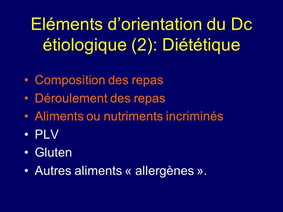 Eléments d'orientation du Dc étiologique (2): Diététique