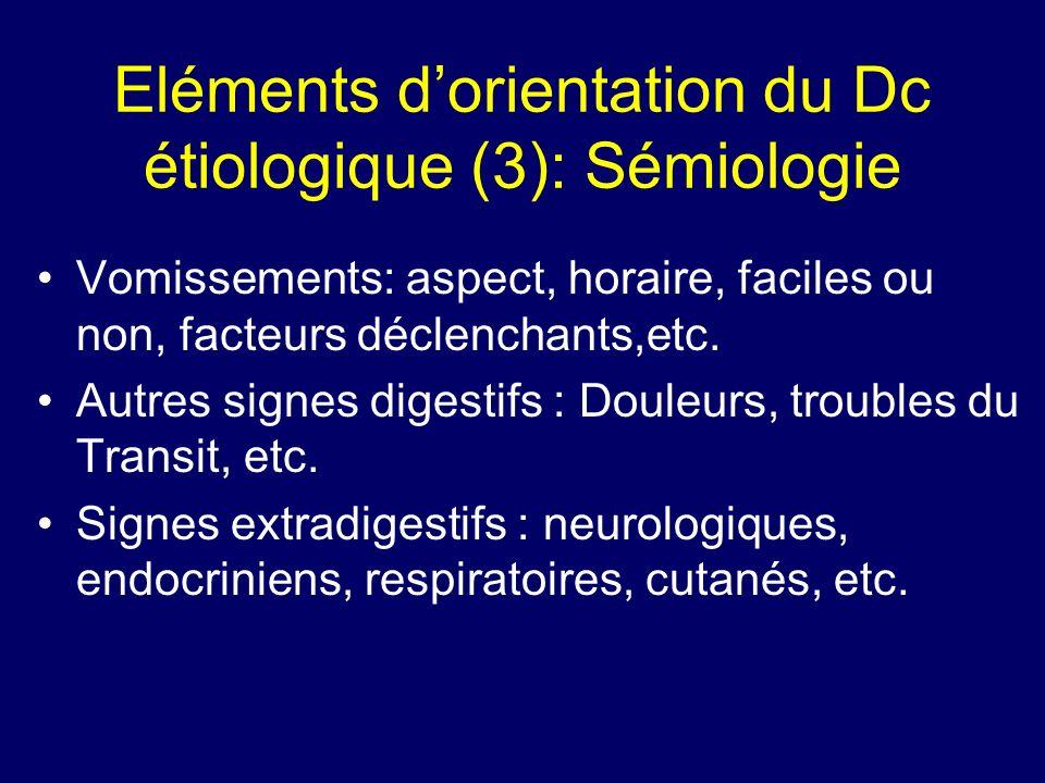 Eléments d'orientation du Dc étiologique (3): Sémiologie