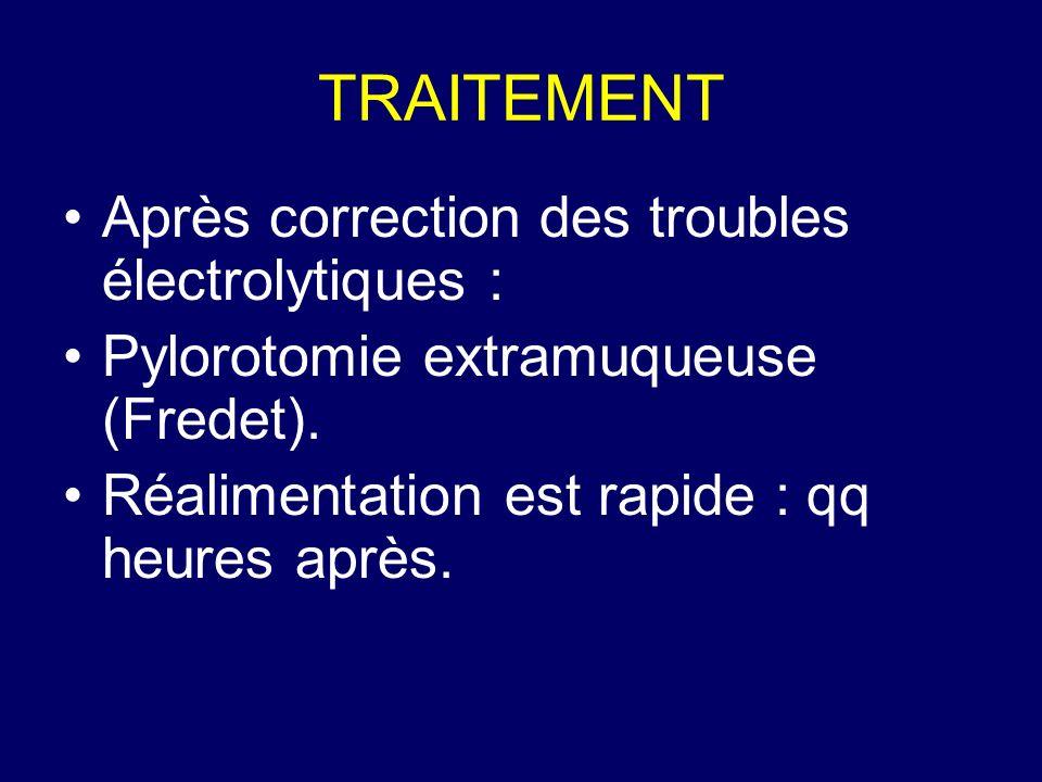 TRAITEMENT Après correction des troubles électrolytiques :